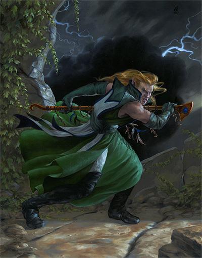 "Elven Warlock, 11x14"" oils on masonite"