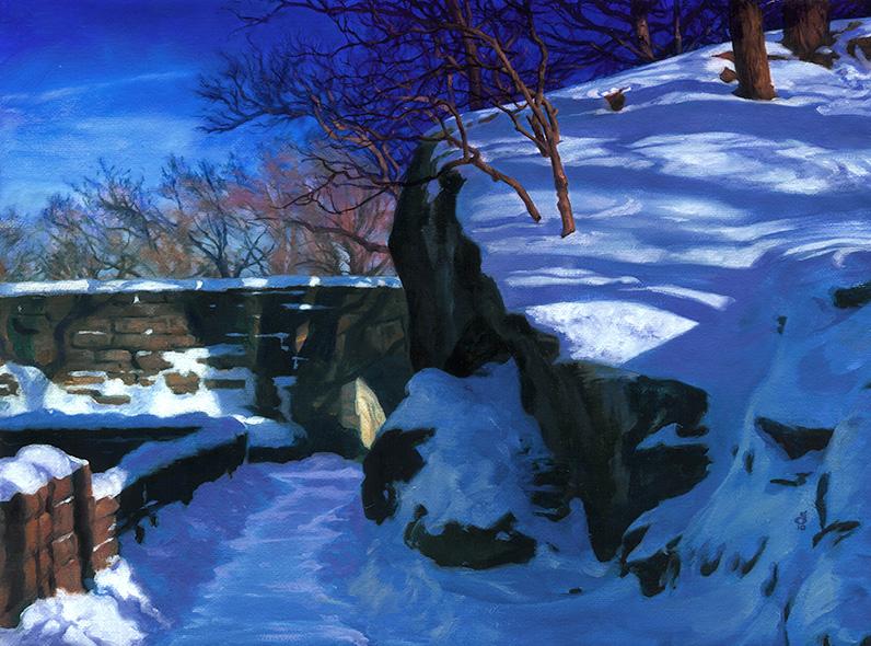 """""""Cloister Park, Winter"""",  12x16"""" Oils on Canvas"""