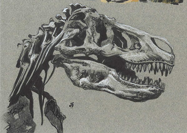 "T-Rex 5.5x8"" Ink and pastel on paper"