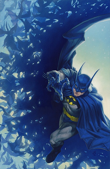 """""""Flight of the Bats"""" 11x17"""" oil on paper over board Sold My unpublished Batman image, adored by dozens!"""