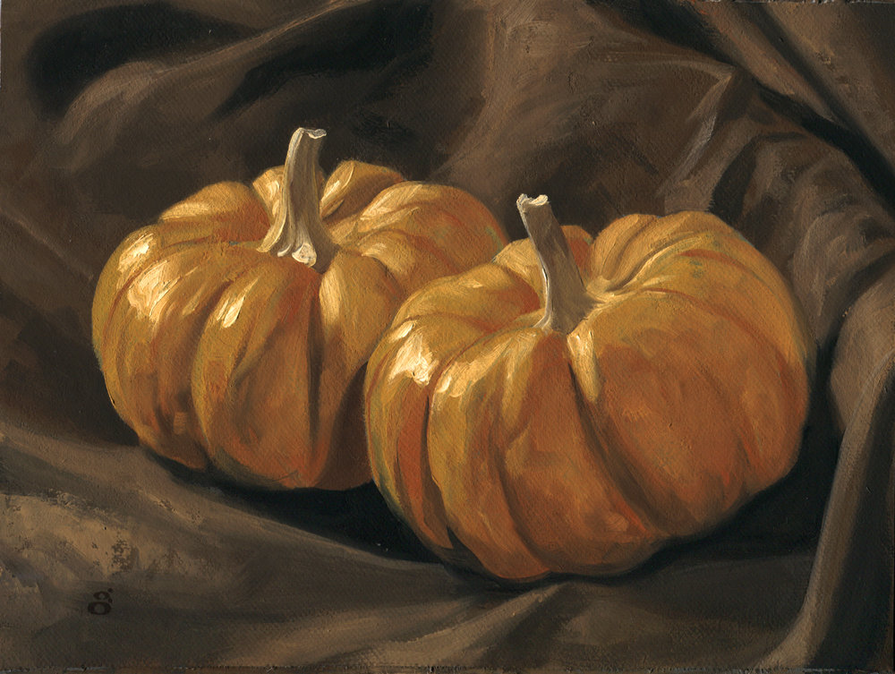 """2 Pumpkins"" 6"" x 8"" oil on canvas"