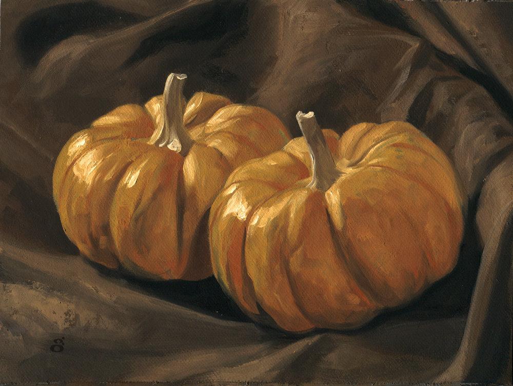 """2 Pumpkins"" 6"" x 8"" oil on canvas"