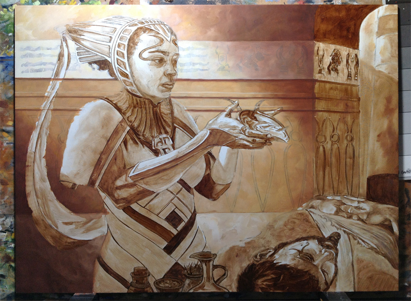 After transferring the drawing to my board, I applied a brown wash of color, then began with the final rendering, working mostly background-to-foreground