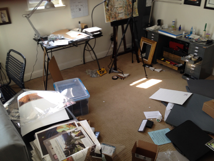 My studio, as I left it after ransacking most of my art to leave with.