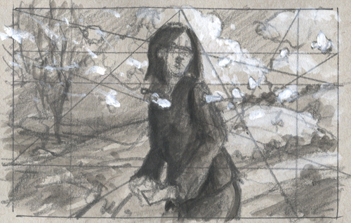 "Thumbnail sketch, 4x2.5"" pencil and acrylic"