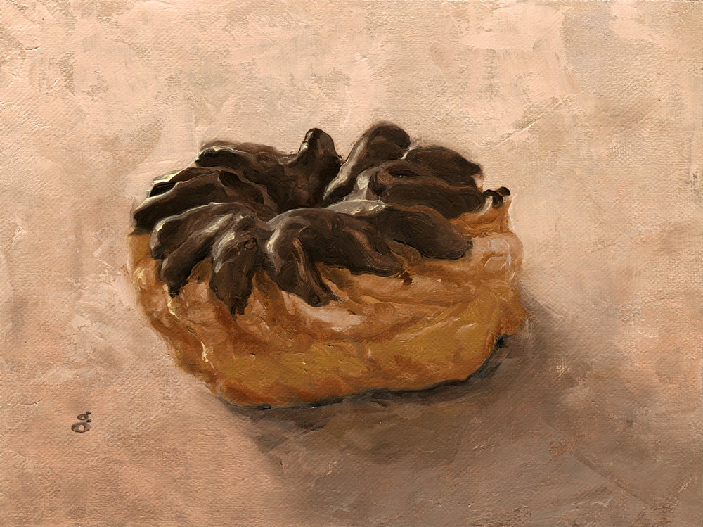 "Chocolate Cruller 6x8"" oil on canvas"
