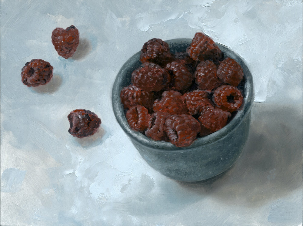 "Raspberries 6x8"" oil on panel Original art available    Process video here"