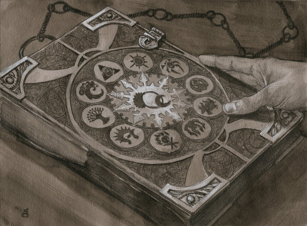 "Tome of the Guildpact, preliminary study 6x8"" acrylic and pencil on toned paper sold"