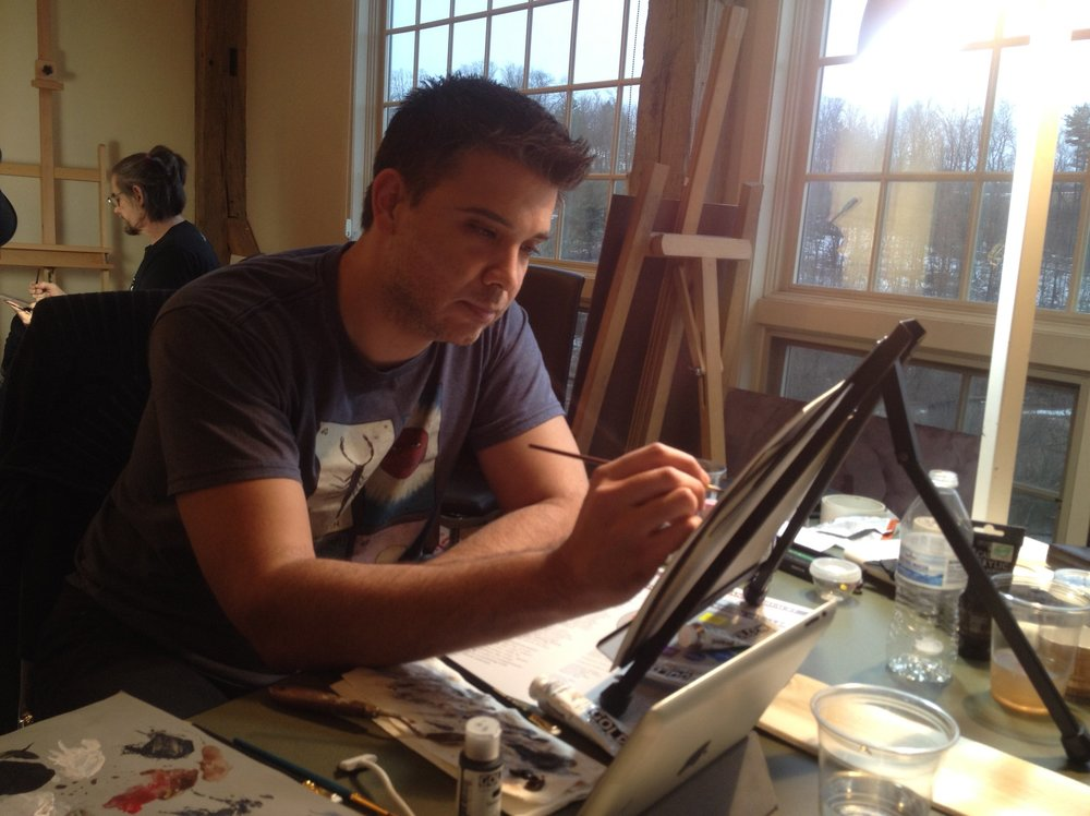 Me, working on the final painting, possibly at a point where I was not impressed, based on my expression.