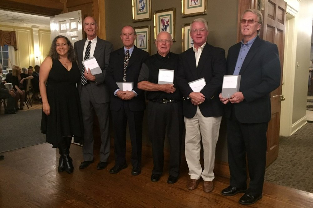 Executive Director Rachel Galanter with award recipients Alan Jessup, Gerald Dodd, Harold Fletcher, David Woodell, and Bill Nichols at Exchange Family Center's 25th Anniversary Gala on Friday, June 23, 2017.