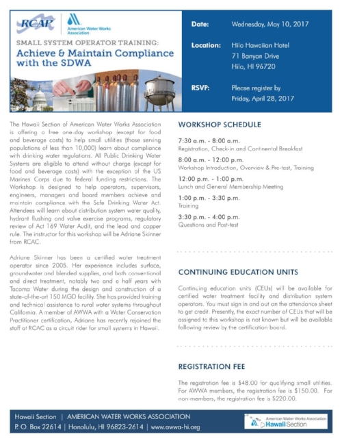 Workshops awwa hawaii section you can download the registration form here may workshop registration form xflitez Choice Image