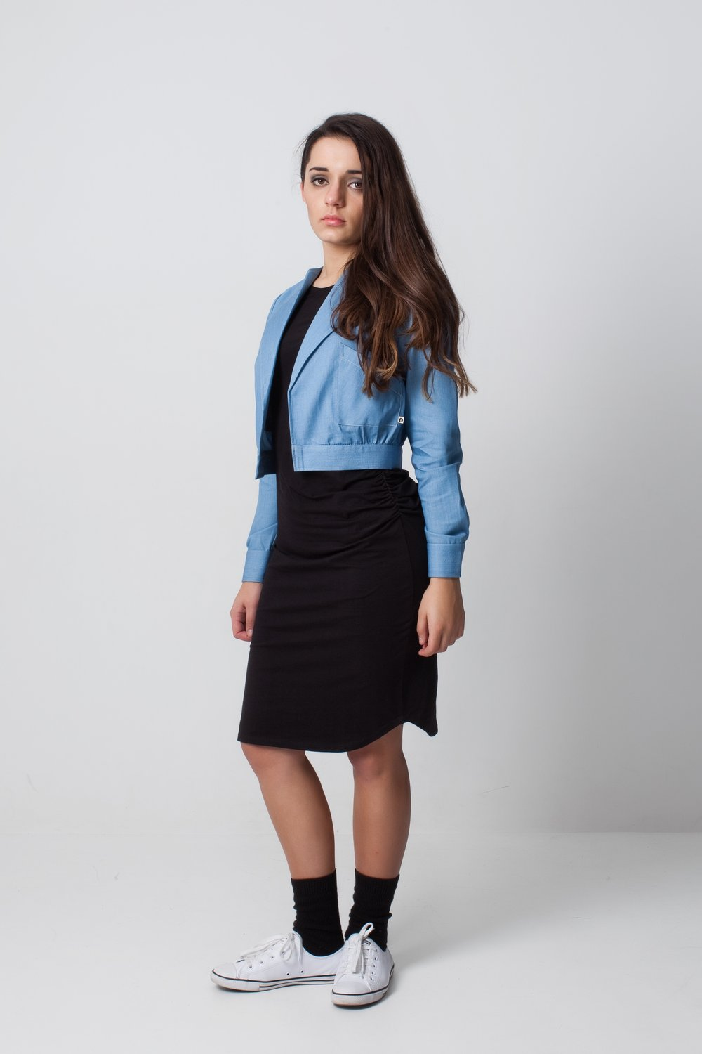This is a great combination - the LBD (little black dress) with a denim cropped jacket
