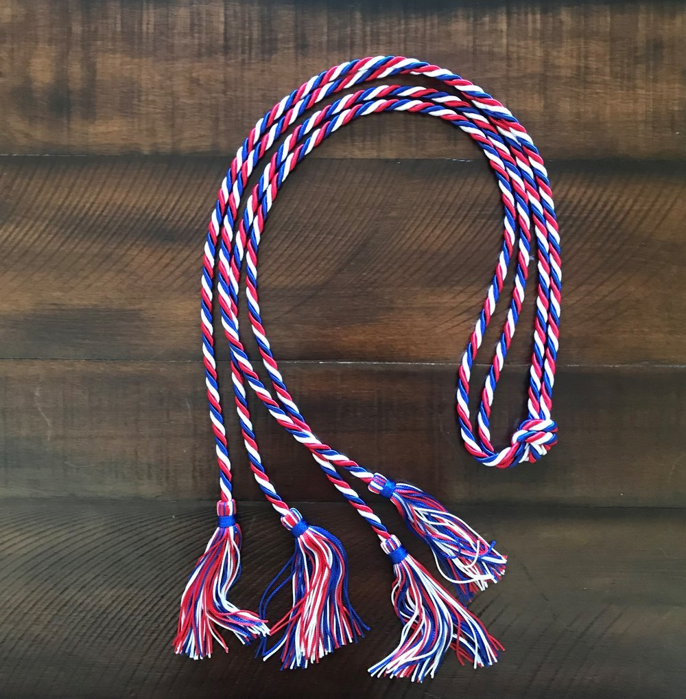 Double Cord / Triple Twisted - Red, Royal Blue & White