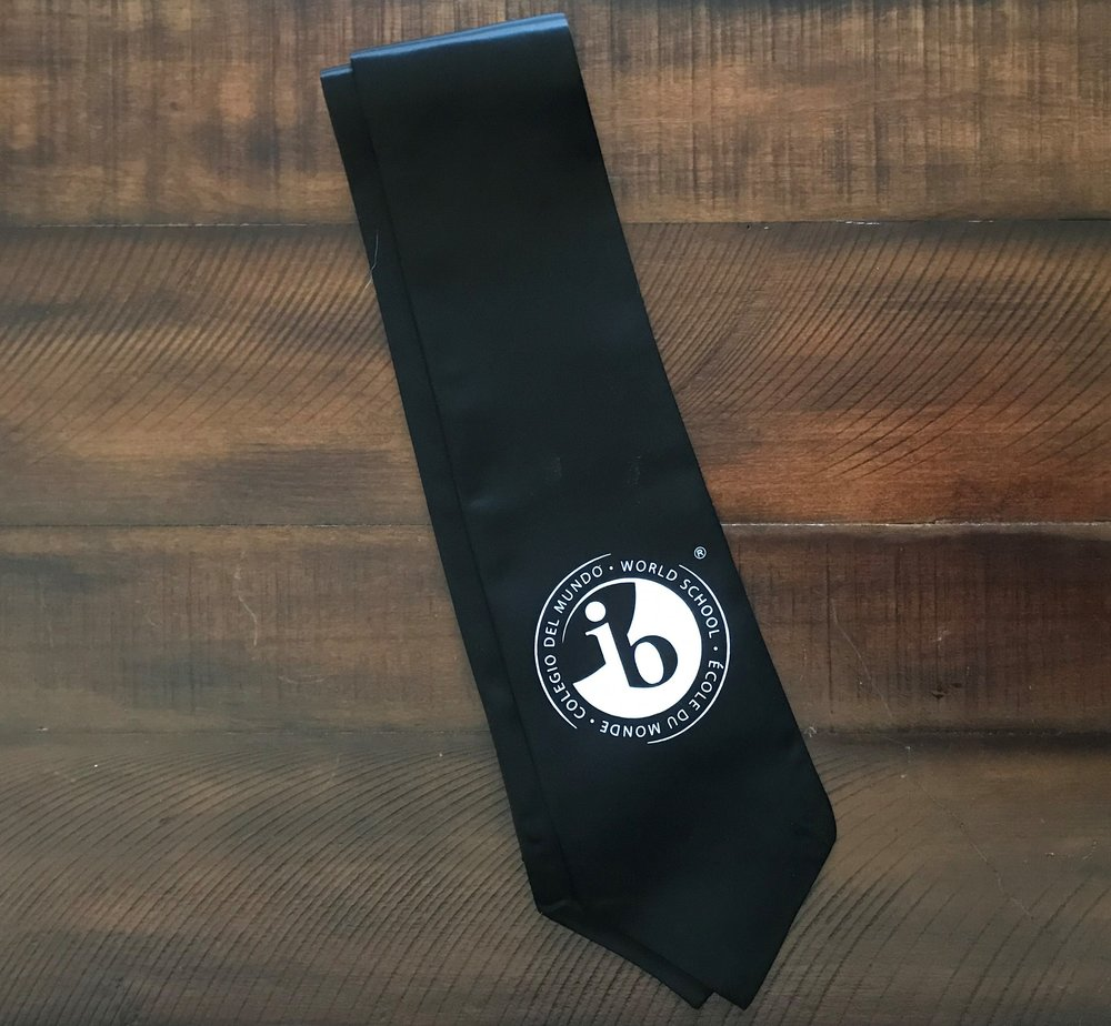 IB Stole - black with white imprinted 'IB' logo