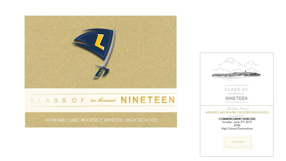 Custom School Announcement:   Features school colors, gold foil accents, graduation commencement details, school etching on metallic gold cardstock. Given to those attending your graduation ceremony and/or close family and friends. Order an extra for a keepsake.