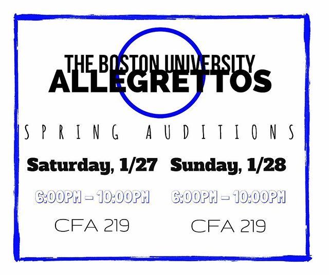 Looking to join an a cappella group on campus? 🎤🎼The BU Allegrettos are looking for some NEW MEMBERS! 💙We're holding Spring auditions on January 27 & 28 from 6-10PM in CFA Room 219! ☺️ For your audition, please prepare a verse and chorus of a song that best highlights your vocal talents and range, and that you feel comfortable singing! Feel free to stop by on either day during the designated time periods.  If you have any questions about how to prepare for your audition, make sure to get in touch with us! We're so excited to meet you all and hear you sing!🎶