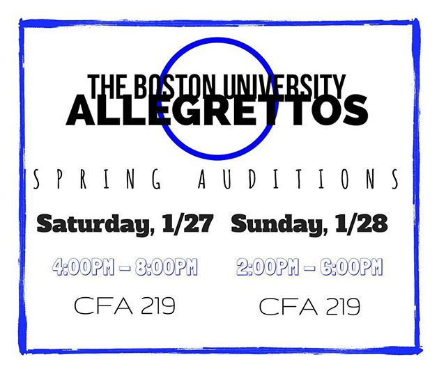 Looking to join an a cappella group on campus? 🎤🎼The BU Allegrettos are looking for some NEW MEMBERS! 💙 We're holding Spring auditions on January 27 now from 4-8PM and January 28 from 2-6PM in CFA Room 219! ***Please note that we changed the time slots!***☺️ For your audition, please prepare a verse and chorus of a song that best highlights your vocal talents and range, and that you feel comfortable singing! Feel free to stop by on either day during the designated time periods.  If you have any questions about how to prepare for your audition, make sure to get in touch with us! We're so excited to meet you all and hear you sing!🎶
