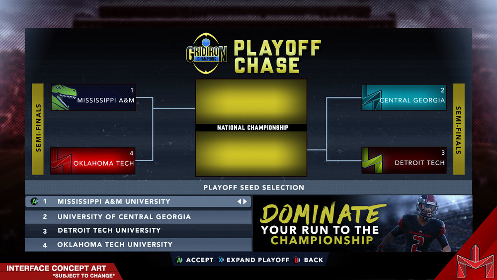 PLAYOFF CHASE - Create college football playoff-like scenarios by challenging opponents in Playoff Chase. Playing with up to 4 teams, see if you can advance to the National Championship though a single elimination format. Users will have the ability to expand your playoff experience with up to 16 teams.