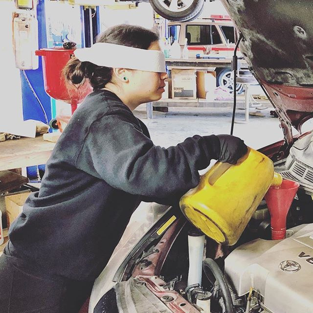 Noticed they were still driving cars in that movie. So, we gotta step up our training. #birdbox #readyforanything #practice #stayalive #shoplife #mechanic @mfloorz_