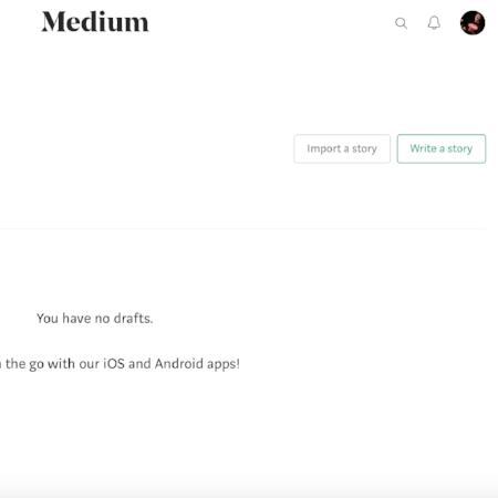"""""""Write a story"""" section of Medium.com dashboard"""