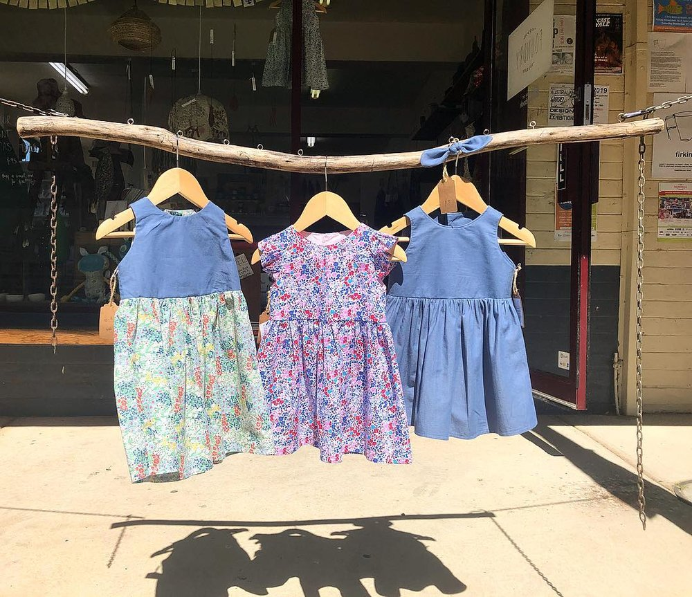 Handmade dresses by the talented Michelle at BabyJulzDesigns - a current artist-in-residence.