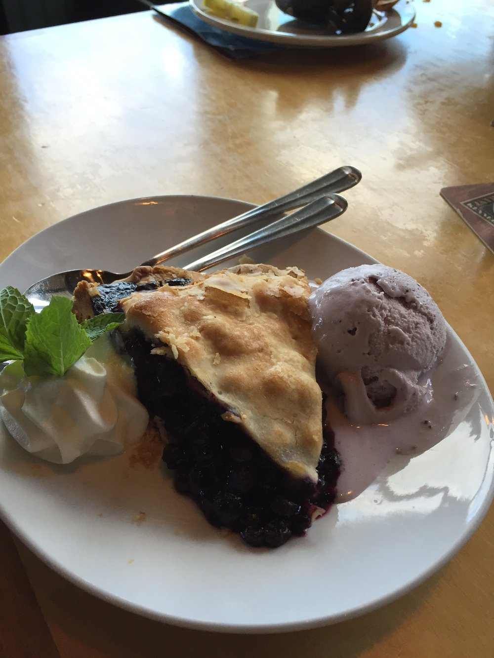 Wild blueberry pie in Maine...yes please!