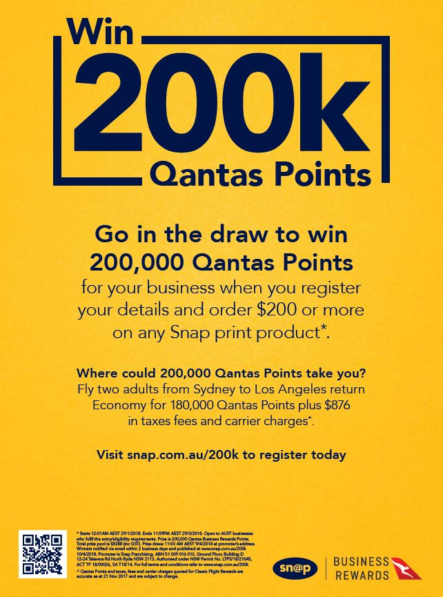 SNAP Capalaba  Contact SNAP Capalaba for all of your print, design and website needs Snap Capalaba should be your number one choice.  (07) 3245 2444,  1/13 Hook St, Capalaba QLD 4157,  Go in the draw to win 200,000 Qantas Points for your business when you register your details and order $200 or more on any Snap print product*.  Visit snap.com.au/200k to register today.