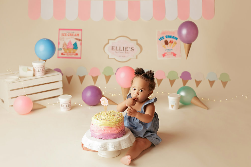 Ellie's Ice Cream Parlor themed Cake Smash! Im in LOVE with this session! View more of this adorable babys photos  here .