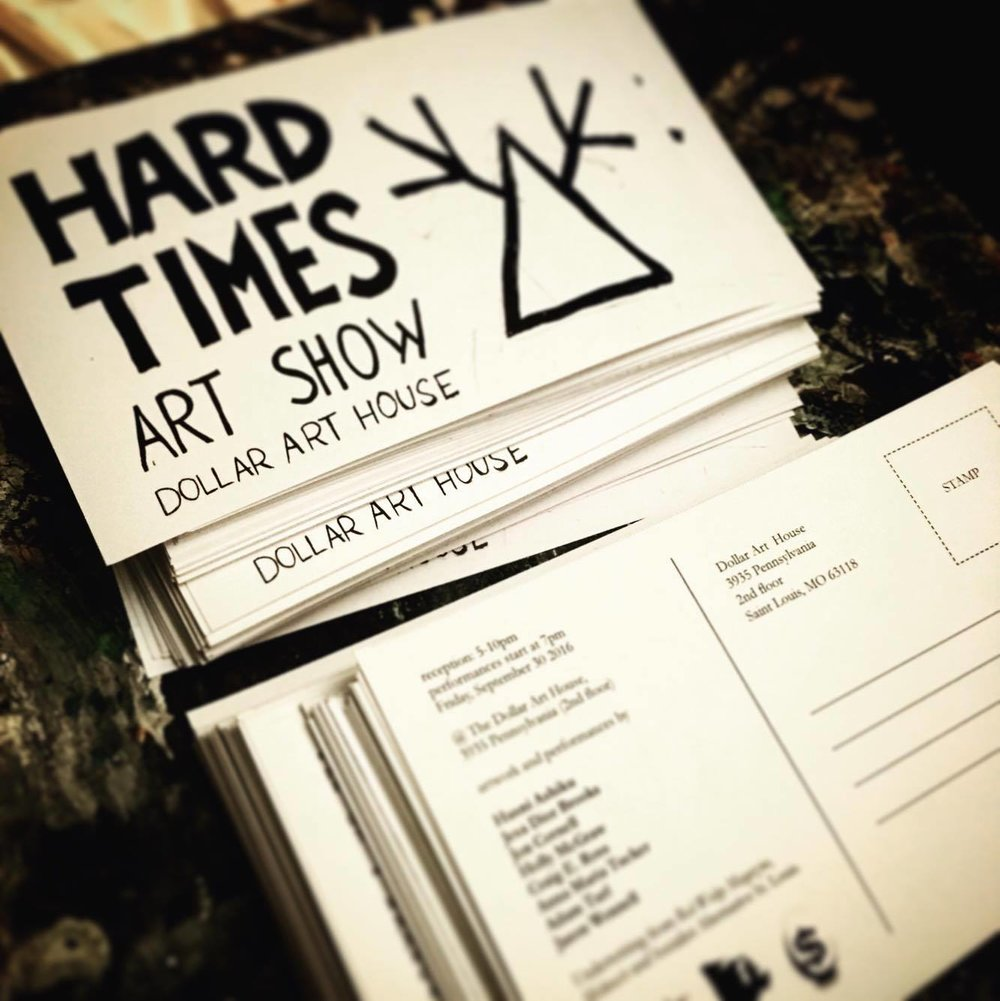 """show cards for the """"Hard Times Art Show"""" at the Dollar Art House"""