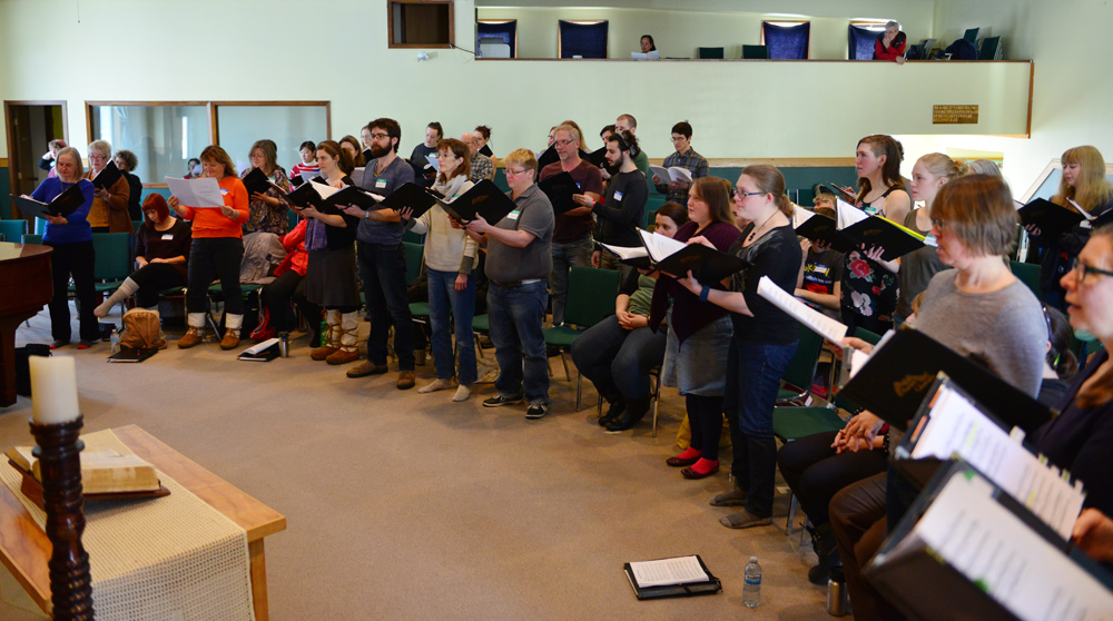 Aurora Chorealis, the Yellowknife Choral Society, joins Spiritus in a joint rehearsal at the Calvary Community Church.