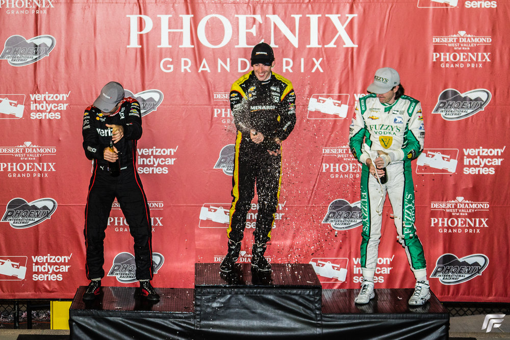 The 2017 IndyCar Grand Prix podium, 1st Simon Pagenaud (center), 2nd Will Power (left), 3rd JR Hildebrand (right)