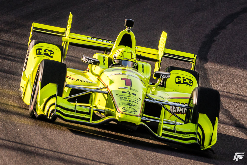 Race winner Simon Pagenaud near the beginning of the 2017 Phoenix Grand Prix.