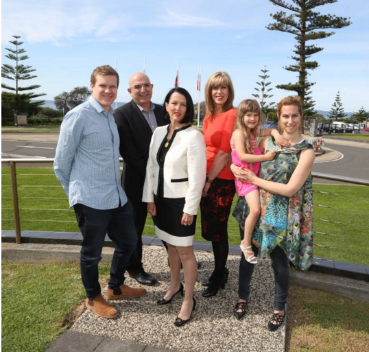 Dylan Smith, of Optus North Wollongong, Peter Christopher, of SMRF, Madeline Tynan, of Tynan Motors, Corinne Whiteman, of Fairfax Media, Evengelia and Jonni Nicolaou, of Lagoon Restaurant. Picture: Greg Ellis