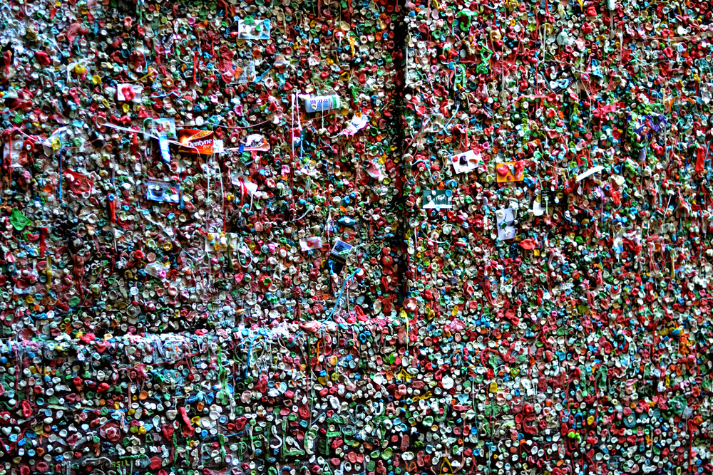 The newest gum wall right outside of Pike's place!