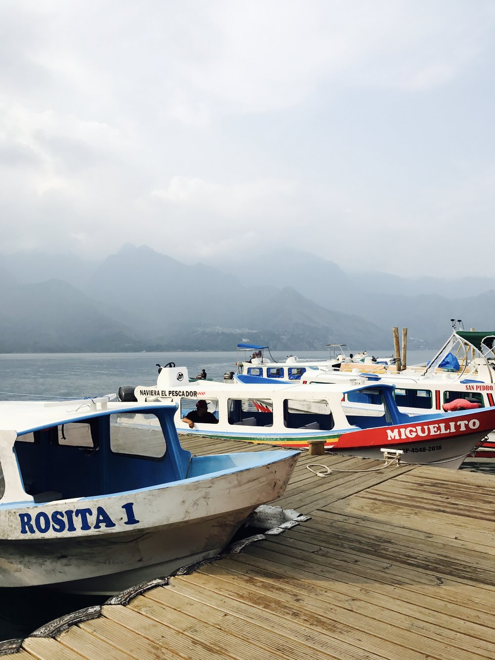 The front dock of San Pedro, one of five towns surrounding Lake Atitlan in a massive volcanic crater in Guatemala's southwestern highlands