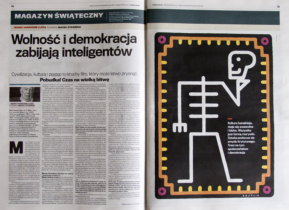 illustration for Gazeta Wyborcza, Mario Vargas Llos interviewed by Maciej Stasiński, 18-19.10.14