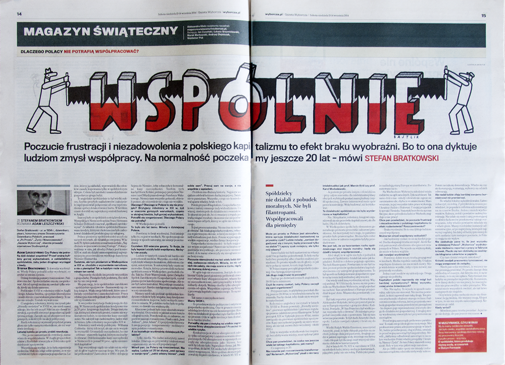 illustration for Gazeta Wyborcza, Stefan Bratkowski interviewed by Adam Leszczyński about last 20 years in Poland, 13-14.9.14