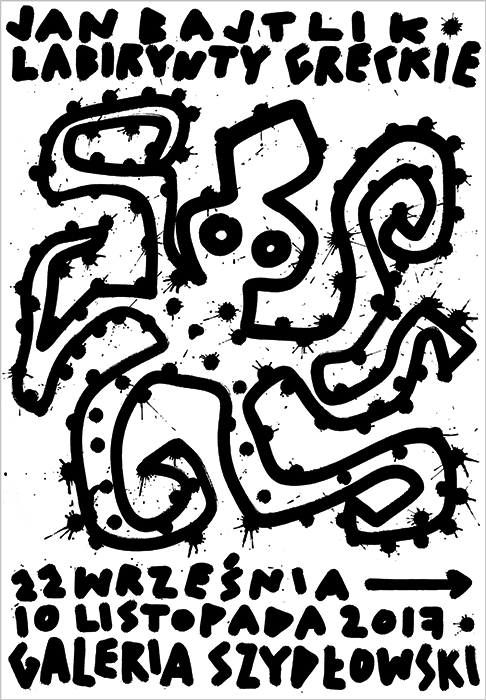 """Jan Bajtlik Greek Labyrinths"" poster for solo drawing exhibition in Galeria Szydłowski in Warsaw, 2017."