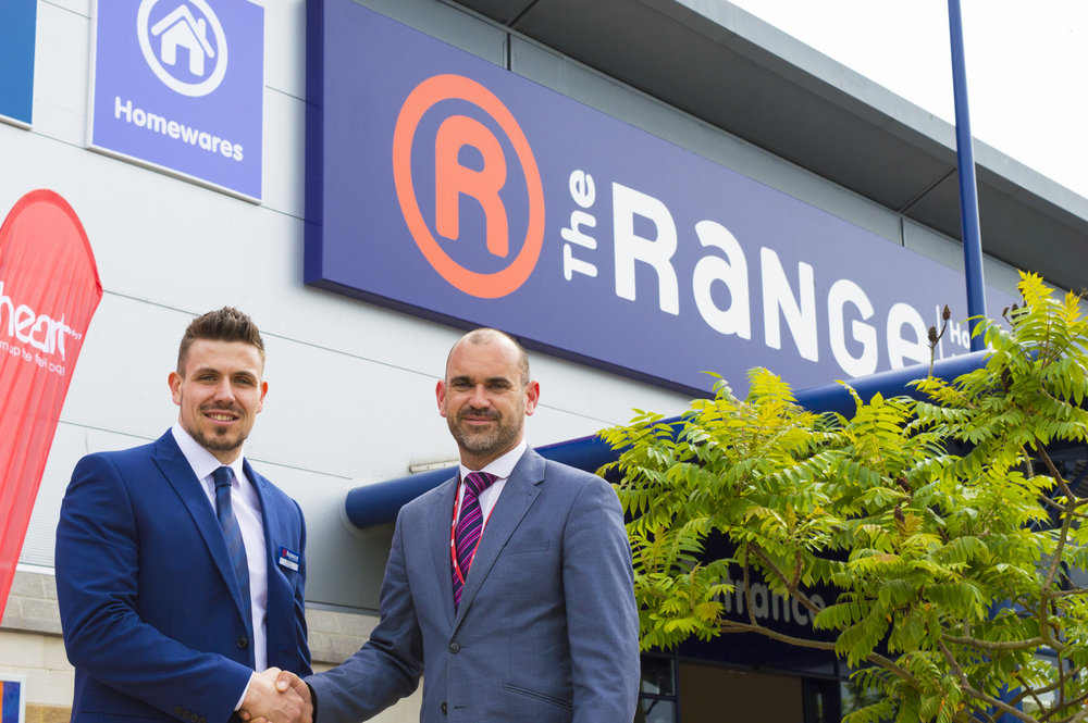 Partnership Manager Garry Mills (Right) with Shane Edwards, Ipswich Store Manager for The Range (Left).