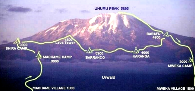 The Machame Route up Kilimanjaro. Our #Kili01 team have now arrived into Shira Camp (on the left hand side of this picture), which is actually at a similar altitude to Barranco camp on the eve of Day 3 but before that, there is Lava Tower, at the formidible 4600metres ASL, which lays in wait in about 15 hours time.