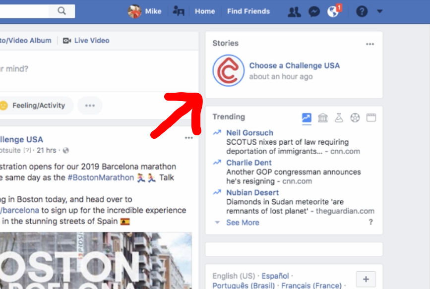 FACEBOOK STORIES  After following you'll also be able to see updates right from your Facebook homepage whenever we have an update fro one of our trips