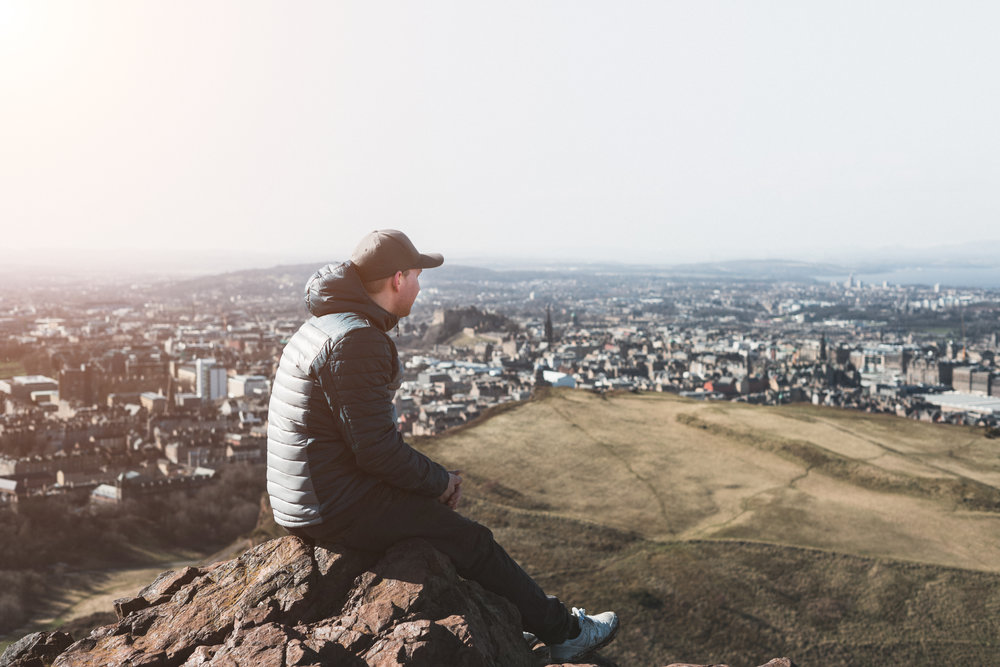 Arthur's Seat - Rising high above the Edinburgh skyline is Arthur's Seat, a 250m mountain situated right in the middle of Edinburgh city. There is no better place to gain a 360-degree view of Edinburgh and the 30 to 45 minute hike to the summit makes for a fantastic stretch of the legs at both sunrise and sunset.