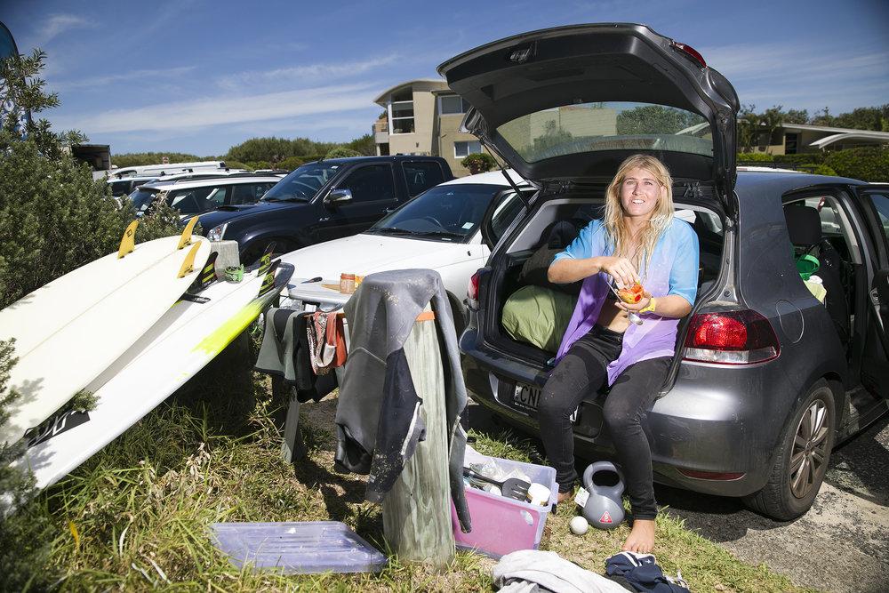 Freya Prumm and her VW Golf at Boomerang beach.