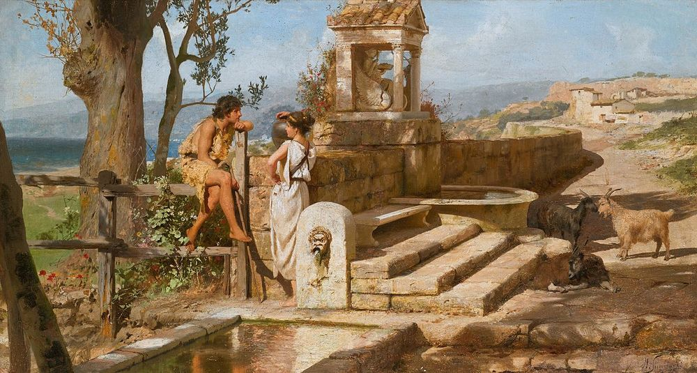 ....Have a chat in Latin by the old well!..Serito sermonem Latine ad puteum! ....