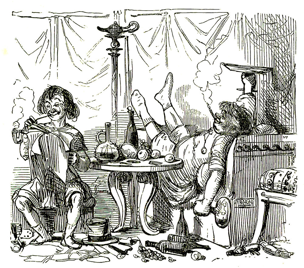 Terence reads Andria to Caecilius, by John Leech, The Comic History of Rome, Gilbert Abbott A Beckett, c:a 1850; Learn to speak latin, latinitium.com