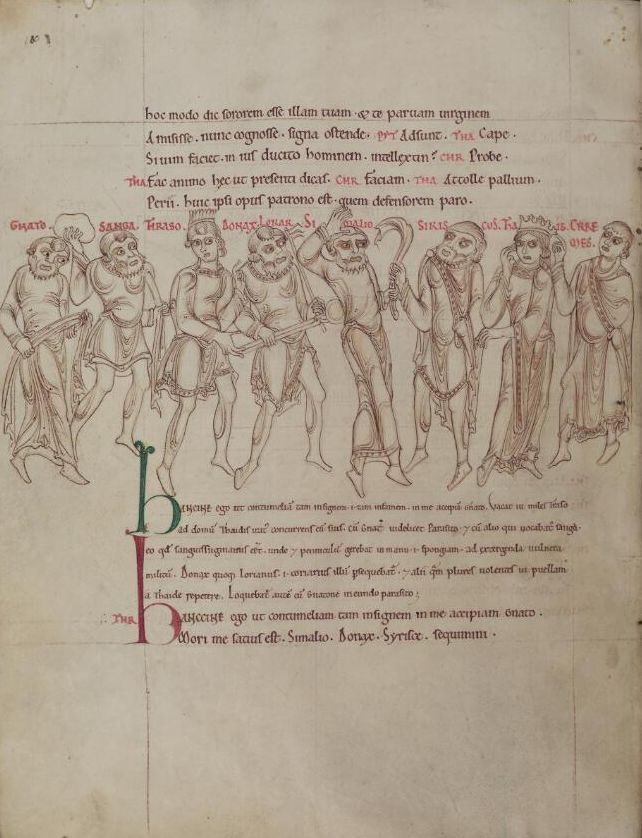 Mid-12th century illustrated Latin manuscript of Terence's Comedies from St Albans Abbey, now held at the Bodleian Library; Learn to speak latin, latinitium.com