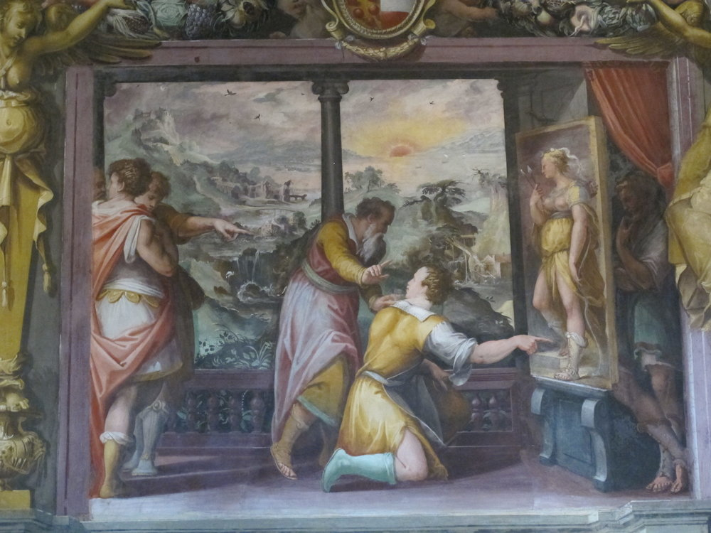 Apelles with the Shoemaker, mural by Giorgio Vasari.
