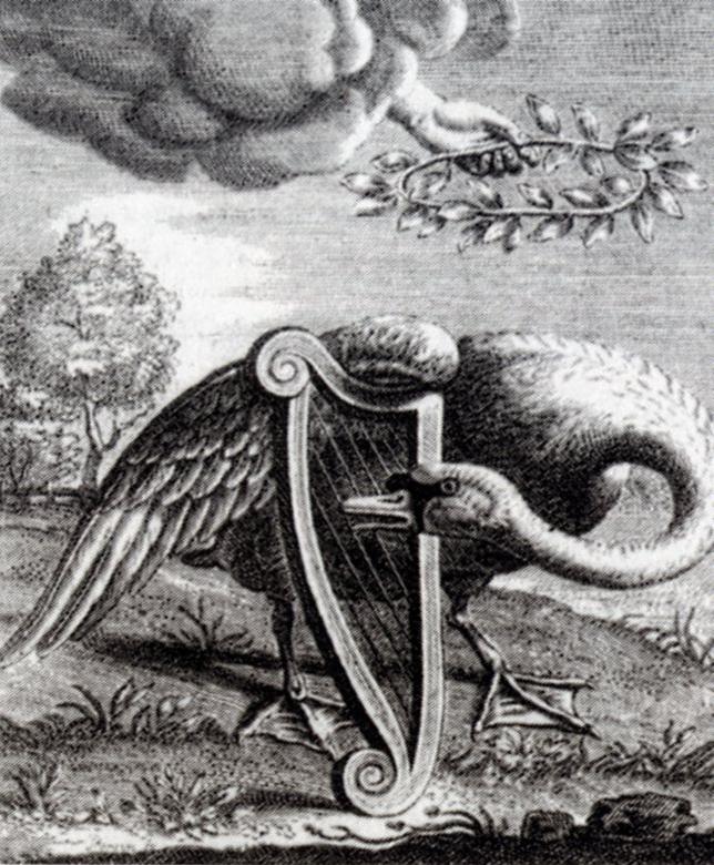 """Titelpage of """"Den singende swaen"""" (""""The singing swan"""") by Willem de Swaen te Gouda. Engraving made by Reinier van Persijn in 1655."""