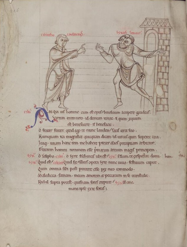 Scene from  Adelphoe  with Ctesipho and Syrur from Terence's Comedies, in Latin, St Albans Abbey, mid 12th century.