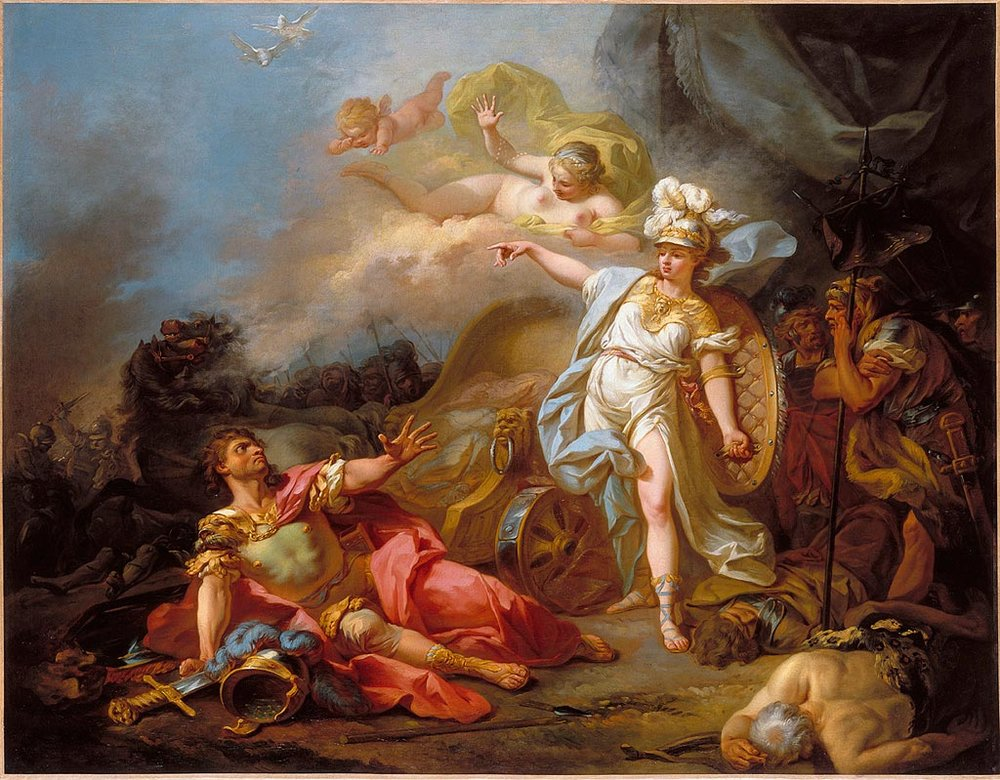 The Combat of Mars and Minerva  by Jacques-Louis David ca 1771.